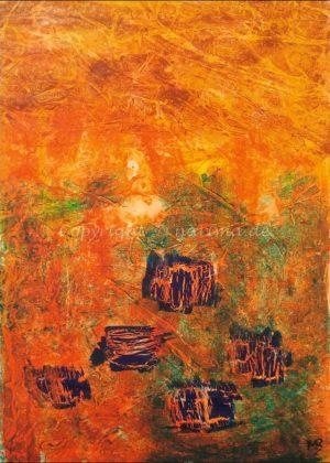 0142 - Bild ohne Titel - 2020/09 - Original: Acryl auf Vlies - ca. 50 x 70 cm