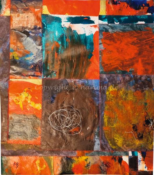 0181 - Collage ohne Titel - genäht - 2021 - Original: Acryl auf Vlies - ca. 55 x 50 cm