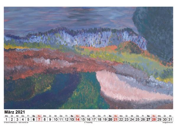 Malerei: Kalenderblatt März 2021