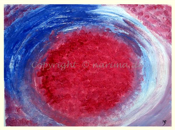 054 - Tiefrot - 2020/01 - Original: Acryl und Spachtelmasse auf Vlies - ca. 50 x 70 cm