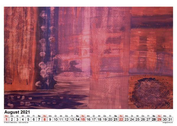 Malerei: Kalenderblatt August 2021
