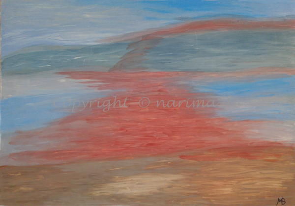 0004 - Titel: Himmelsfarben - 2019/10 - Original: Acryl auf Sperrholz - ca. 40 x 60 cm