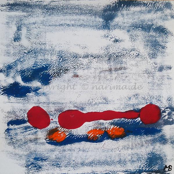 0013 - Titel: Rot zählt - 2019 - Original: Acryl auf Papier - ca. 30 x 30 cm