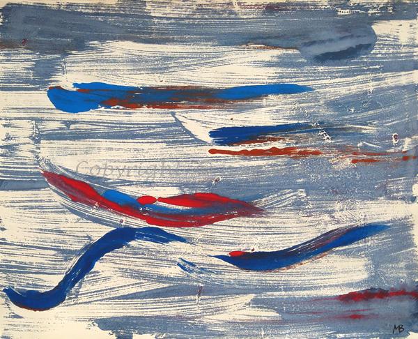 0015 - Titel: Rot zählt - 2019 - Original: Acryl auf Papier - ca. 40 x 50 cm