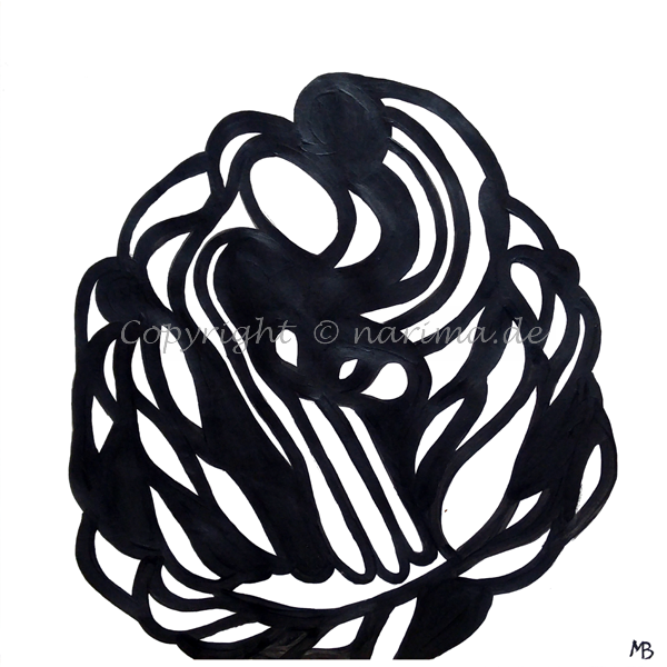 0016 - Erblüht- 2019 - Original: Acryl auf Papier - ca. 37 x 37 cm