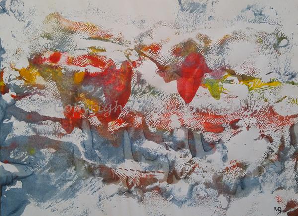 023 - Titel: Wirbel - 2019/08 - Original: Acryl auf Papier - ca. 30 x 40 cm